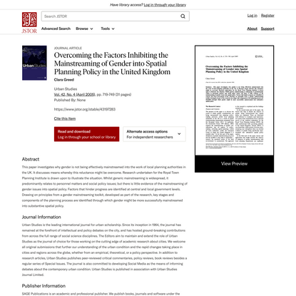 Overcoming the Factors Inhibiting the Mainstreaming of Gender into Spatial Planning Policy in the United Kingdom on JSTOR
