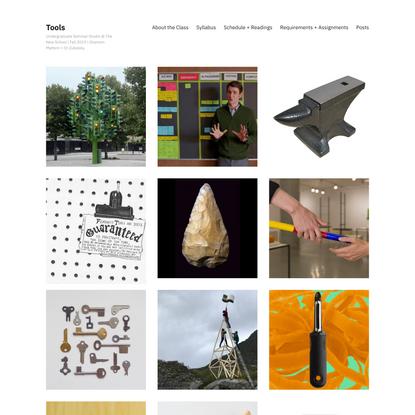 Tools – Undergraduate Seminar-Studio @ The New School   Fall 2019   Shannon Mattern + Or Zubalsky