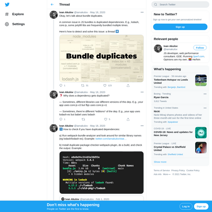 """Ivan Akulov on Twitter: """"Okay, let's talk about bundle duplicates. A common issue in JS bundles is duplicated dependencies. E.g., lodash, core-js, some polyfill libs are frequently bundled multiple times. Here's how to detect and solve this issue: a thread ⬇ https://t.co/sF3h486v3U"""" / Twitter"""