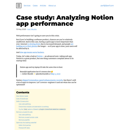 Case study: Analyzing Notion app performance · PerfPerfPerf