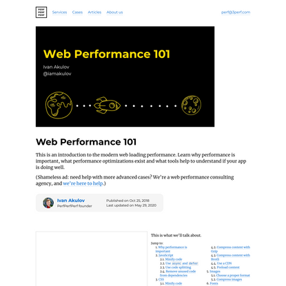 Web Performance 101: JS, CSS, HTTP, images & fonts | PerfPerfPerf
