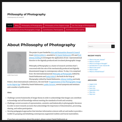 Philosophy of Photography – Contemporary art research