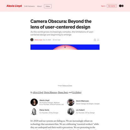 Camera Obscura: Beyond the lens of user-centered design