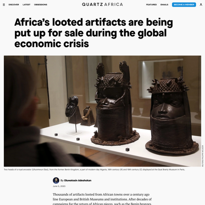 Africa's looted artifacts are being put up for sale during the global economic crisis
