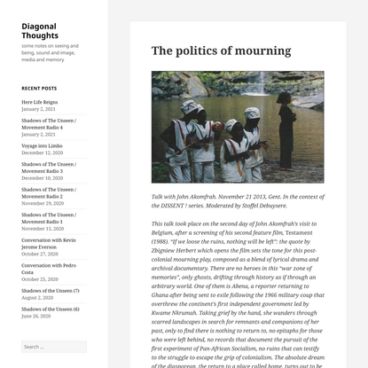 The politics of mourning – Diagonal Thoughts