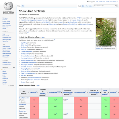 NASA Clean Air Study - Wikipedia