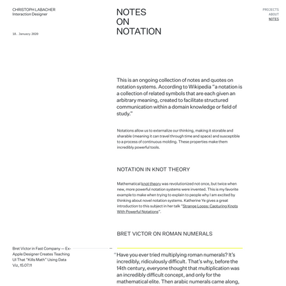 Notes on Notation