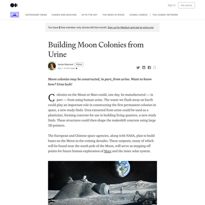 Building Moon Colonies from Urine