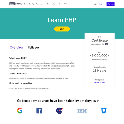 Learn PHP | Codecademy