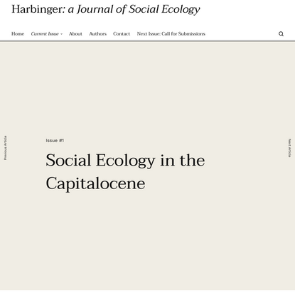 Social Ecology in the Capitalocene - Ben Debney