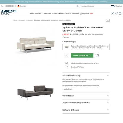 Innovation Splitback Schlafsofa mit Armlehnen Chrom 241x89cm | AmbienteDirect