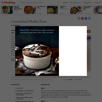 Caramelized Shallot Pasta Recipe
