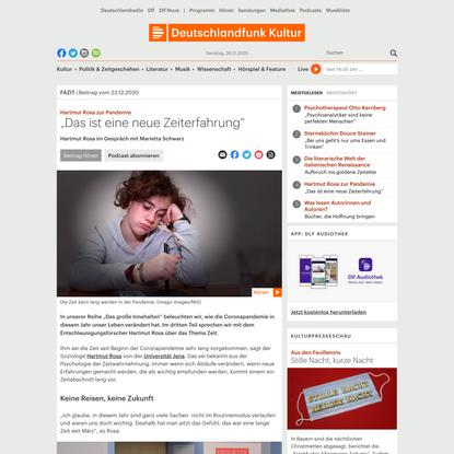 """Hartmut Rosa zur Pandemie - """"Das ist eine neue Zeiterfahrung"""""""