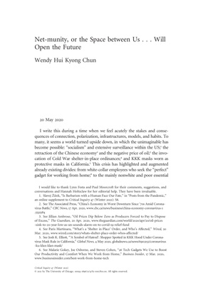 Net-munity, or the Space between Us, by Wendy Hui Kyong Chun