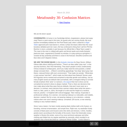Metafoundry 30: Confusion Matrices