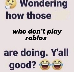 Wondering how those who don't play roblox are doing