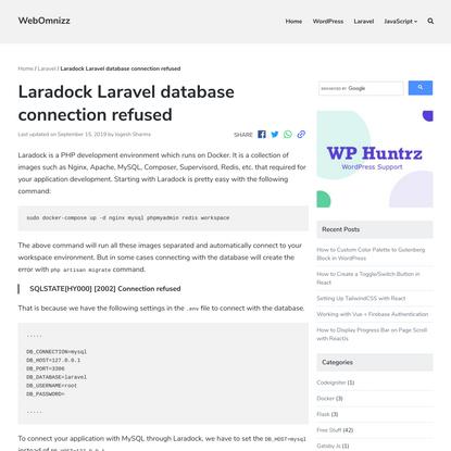 Laradock Laravel database connection refused | WebOmnizz