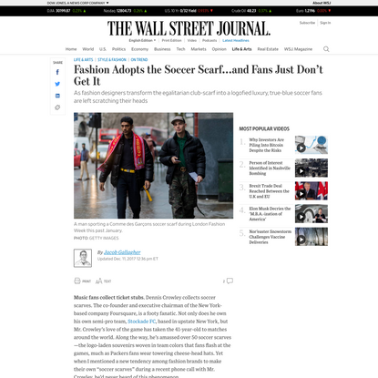 Fashion Adopts the Soccer Scarf...and Fans Just Don't Get It