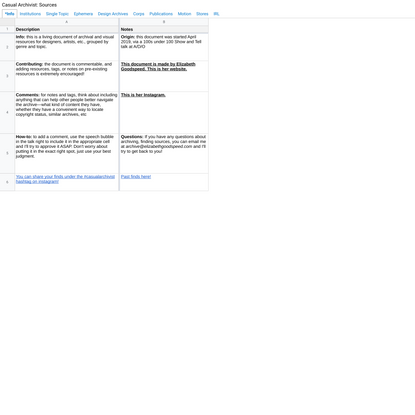 Casual Archivist: Sources - Google Drive