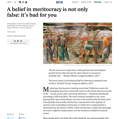 A belief in meritocracy is not only false: it's bad for you – Clifton Mark | Aeon Ideas