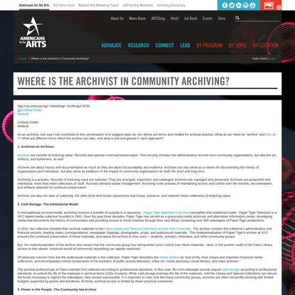 Where is the Archivist in Community Archiving?