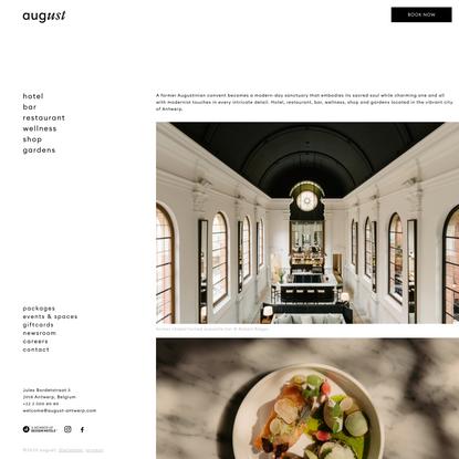 August | Hotel, Bar, Restaurant, Wellness, Shop, Gardens | Antwerp