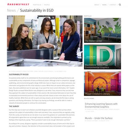 Sustainability in EGD – Arrowstreet