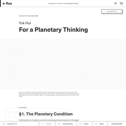 For a Planetary Thinking