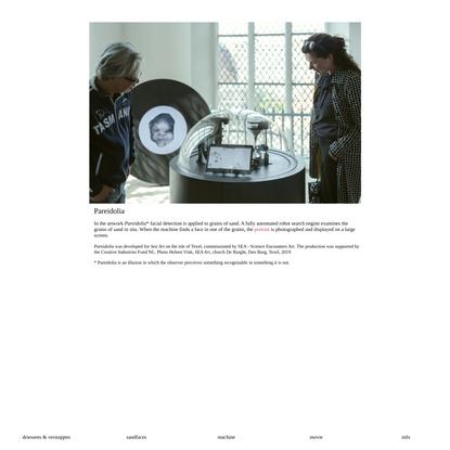 Pareidolia, face detection on grains of sand, installation, Driessens & Verstappen, 2019
