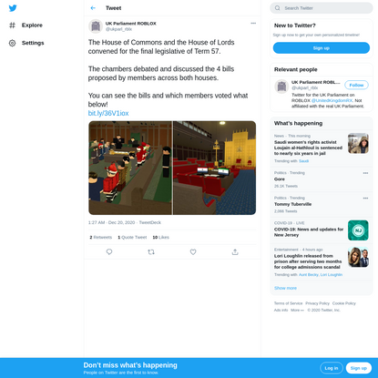 UK Parliament ROBLOX on Twitter