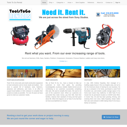 Homepage | Tools To Go Rentals