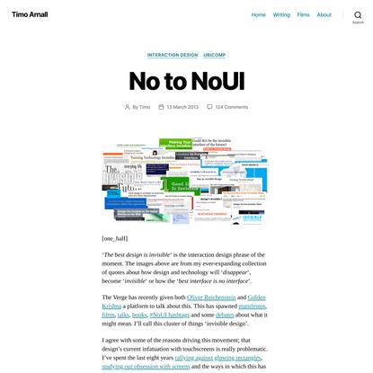 No to NoUI – Timo Arnall