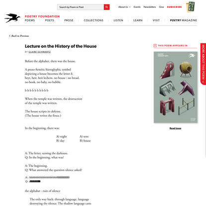 Lecture on the History of the House by Claire… | Poetry Magazine