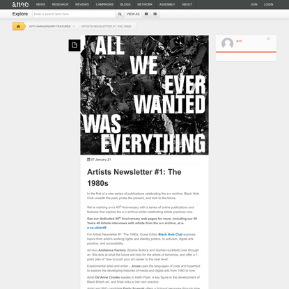 Artists Newsletter #1: The 1980s - a-n The Artists Information Company