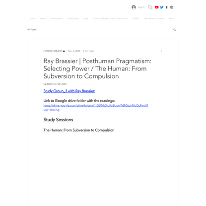 Ray Brassier | Posthuman Pragmatism: Selecting Power / The Human: From Subversion to Compulsion