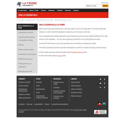 Skills Essentials @ La Trobe, Skills essentials @ La Trobe, La Trobe University
