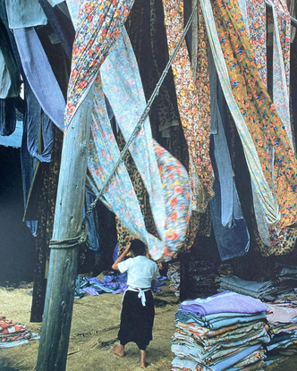 """Commune Design on Instagram: """"Yuzen-dyed silks hanging from drying racks after being dipped into Kamo River, Kyoto, 1961. Ph..."""