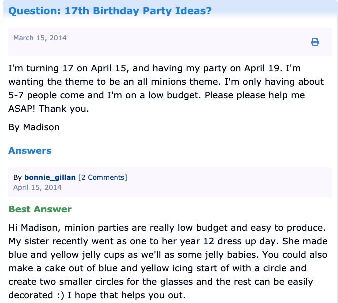 """""""17th Birthday Party Ideas for Girls"""" from """"ThrifyFun"""""""