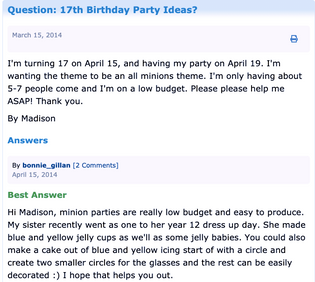"""17th Birthday Party Ideas for Girls"" from ""ThrifyFun"""
