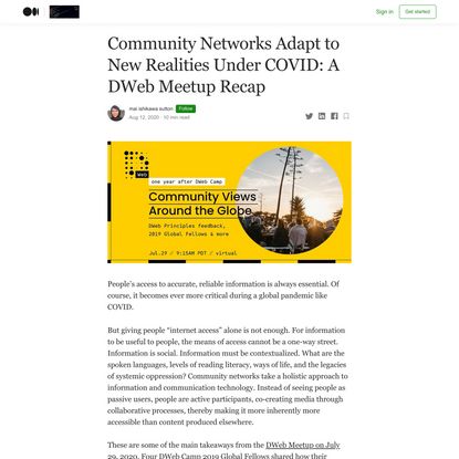 Community Networks Adapt to New Realities Under COVID: A DWeb Meetup Recap