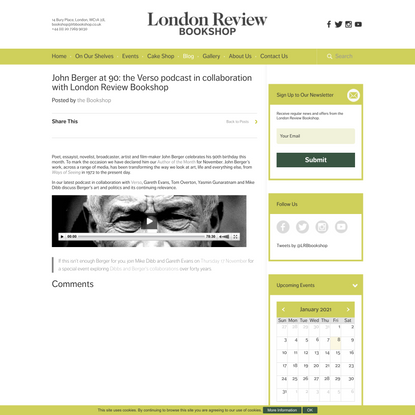 John Berger at 90: the Verso podcast in collaboration with London Review Bookshop | Blog