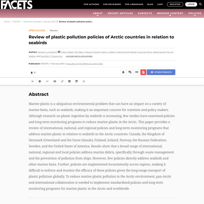Review of plastic pollution policies of Arctic countries in relation to seabirds