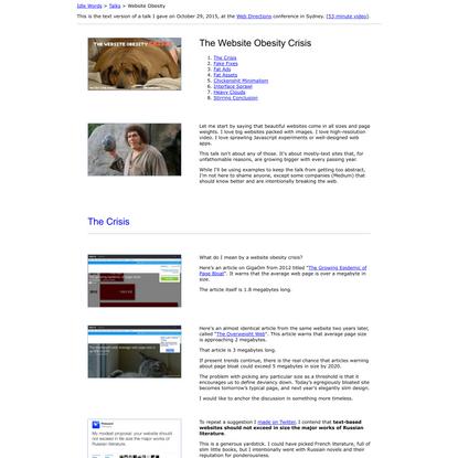 The Website Obesity Crisis