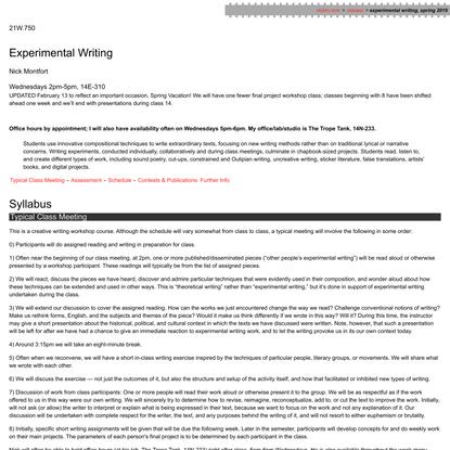 Experimental Writing - 21W.750, Spring 2019