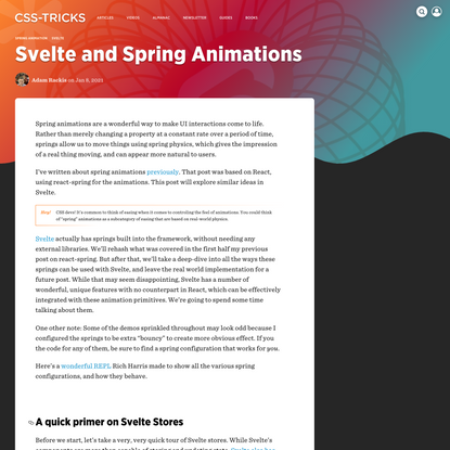 Svelte and Spring Animations | CSS-Tricks