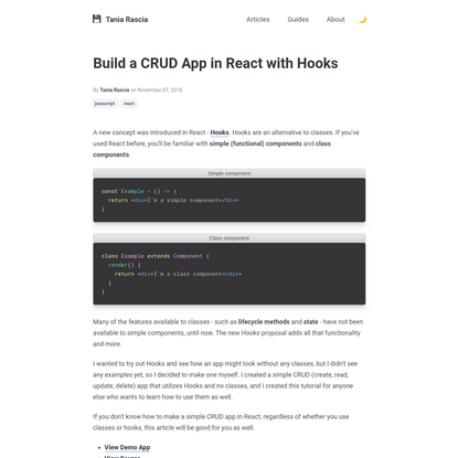 Build a CRUD App in React with Hooks