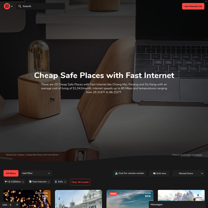 Cheap Safe Places with Fast Internet