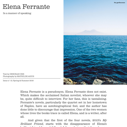 The Gentlewoman – Elena Ferrante