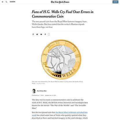 Fans of H.G. Wells Cry Foul Over Errors in Commemorative Coin