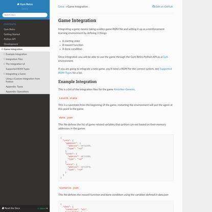 Game Integration — Gym Retro documentation
